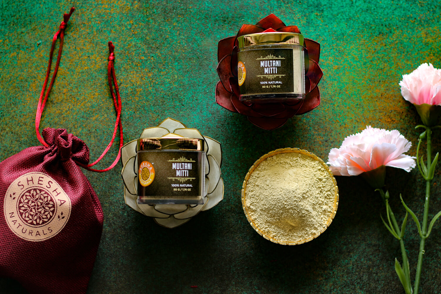 shesha naturals multani mitti, multani mitti face pack, fullers earth face pack, mutani pack for glowing skin, shesha beauty multani mitti